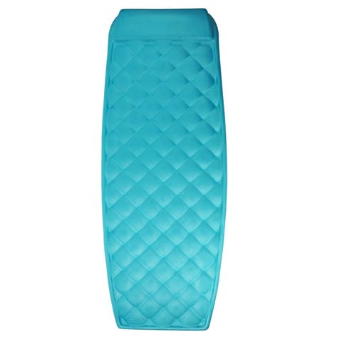 "72"" Quilted Teal Diamond Pattern Swimming Pool Water Matress - Blue - N/A"