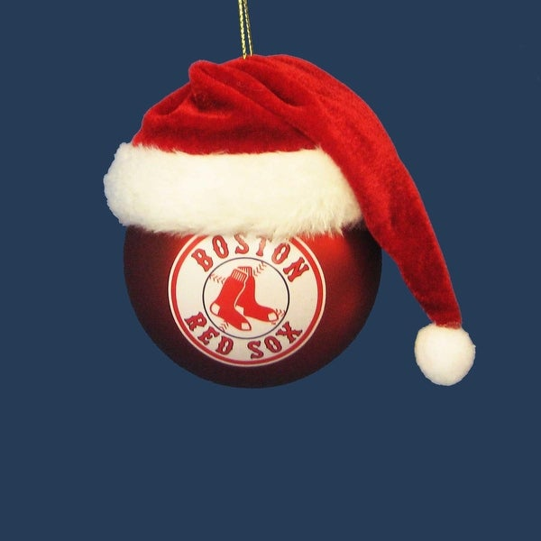 "3"" Red and White MLB Boston Red Sox Shatterproof Christmas Ball Ornament (75mm)"