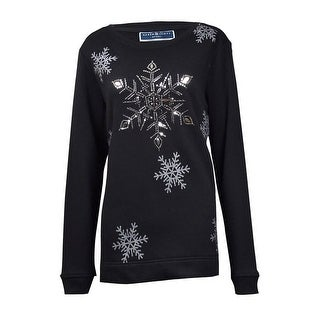Karen Scott Women's Glittered Sequin Snowflake Sweater