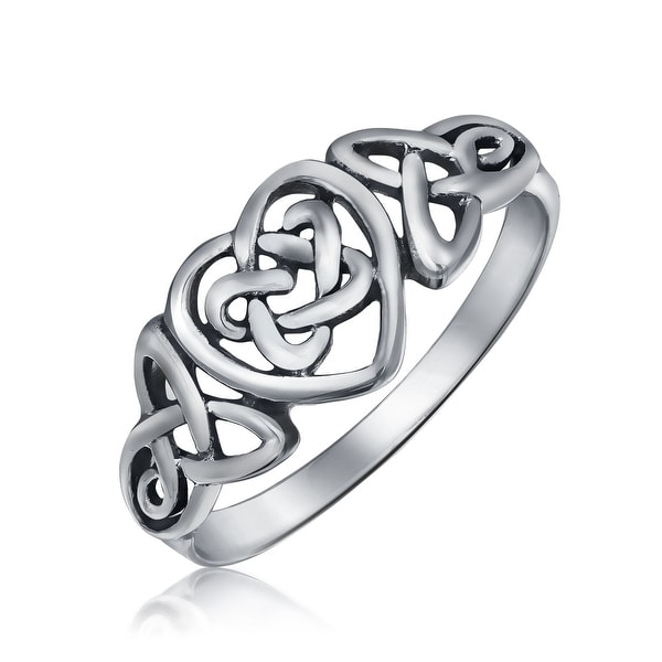 ca68e4938 Shop Irish Celtic Love Knots Infinity Heart Forever Endless Promise Ring  925 Sterling Silver Polished Finish Band - On Sale - Free Shipping On  Orders Over ...