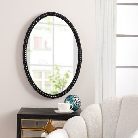 StyleCraft Black Oval Wood Frame Mirror with Beaded Trim