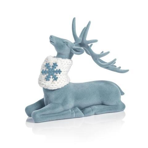 Blue Flocked Sitting Deer Figurine Statue with Scarf