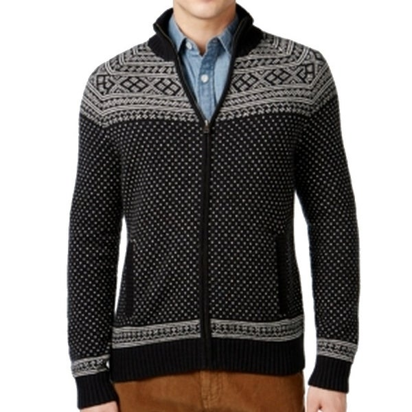 cc84705398a299 Shop Tommy Hilfiger NEW Men's Black Size 2XL Full Zip Patterned Knit Sweater  - Free Shipping Today - Overstock.com - 17894764