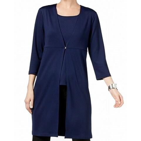 Kasper Blue Navy Women's Size Medium M Kiss Front Stretch Jacket