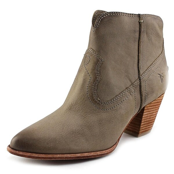 Frye Renee Seam Short Women Pointed Toe Leather Gray Ankle Boot