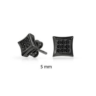 Bling Jewelry Kite Shaped Black CZ Stud earrings 925 Sterling Silver 5mm