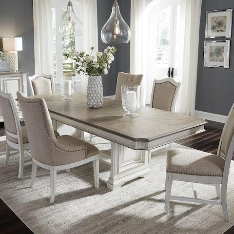 Abbey Park Antique White 7-piece Trestle Table Set