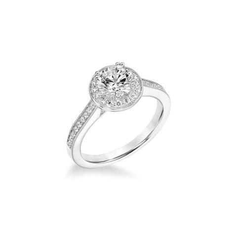 Frederick Goldman DUCHESS Platinum 1.00 CT Lab-Created Diamond Halo Engagement Ring Accents