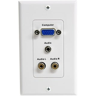 StarTech VGAPLATERCA StarTech.com 15-Pin Female VGA Wall Plate with 3.5mm and RCA - White - 1-gang - D-sub VGA
