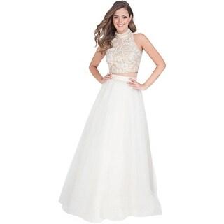 Terani Couture Lace Halter Crop Top Dress