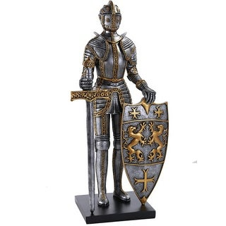 Medieval Times Royal Guardian Knight in Shining Armor Statue 22 Inches