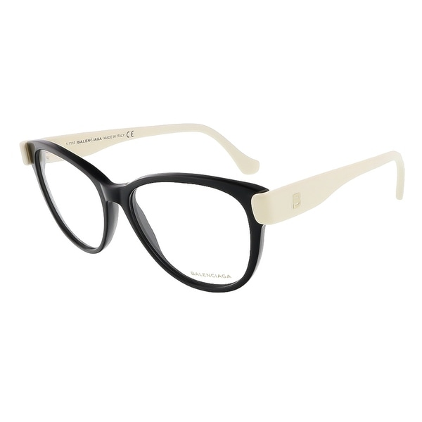 Balenciaga BA5004/V 005 Black/Cream Oval prescription-eyewear-frames - 53-15-140
