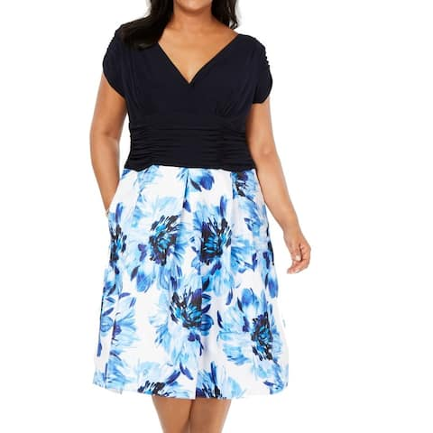 SLNY Women's Dress Blue Size 22W Plus A-Line Colorblock Floral Print