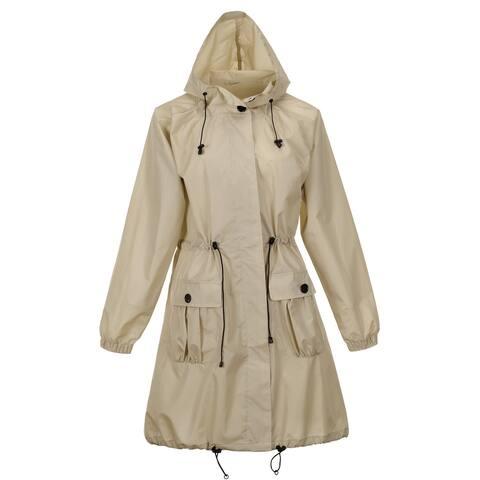 QZUnique Women's Lightweight Long Raincoat With Pockets Waterproof Packable Waist Tiecod Raincoats Windbreak Jackets
