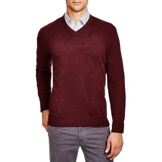 Bloomingdales Mens 2-Ply Cashmere V-Neck Sweater Large L Wine Knitwear