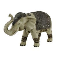 Antique White Faux Carved Decorated Eastern Elephant Statue 13 Inch - Ivory