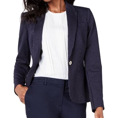 Tommy Hilfiger Women's Blazer Midnight Blue Size 0 Single Button