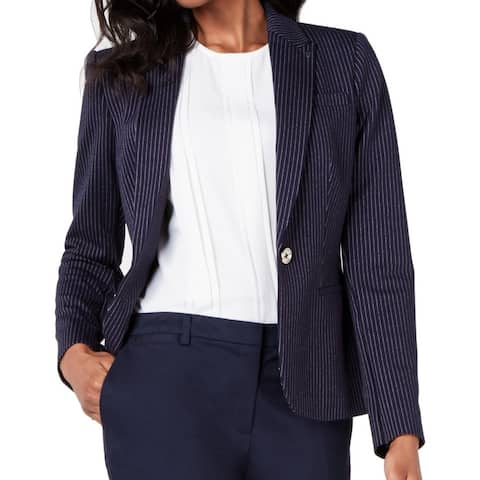 Tommy Hilfiger Women's Blue Size 16 One Button Notch Lapel Blazer