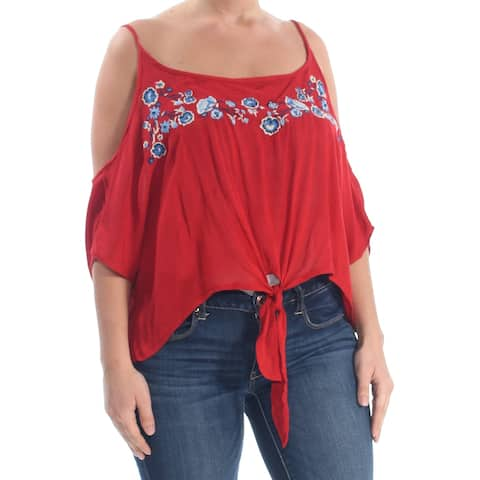 POLLY & ESTHER Womens Red Embroidered Tie Floral Spaghetti Strap Party Top Size: XS