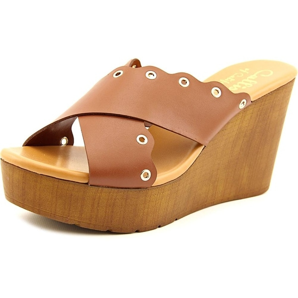 Callisto Priya Women Open Toe Leather Brown Wedge Sandal