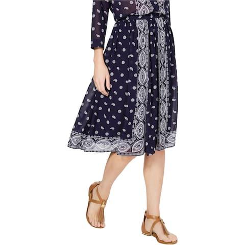 Michael Kors Womens Handkerchief Print Midi Skirt