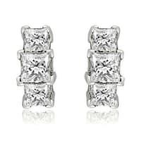 0.90 cttw. 14K White Gold Three-Stone Princess Cut Diamond Earrings - White H-I