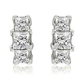 0.90 cttw. 14K White Gold Three-Stone Princess Cut Diamond Earrings