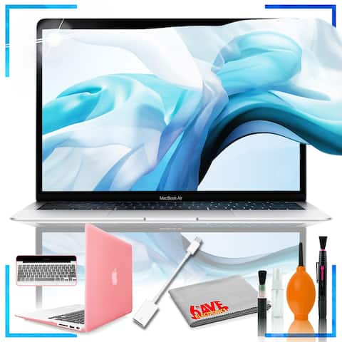 13-inch Mac Book Air: 1.6GHz dual-core Intel Core i5, 128GB - Silver with Durable Hard Case in Glossy Pink and Maintanence Kit