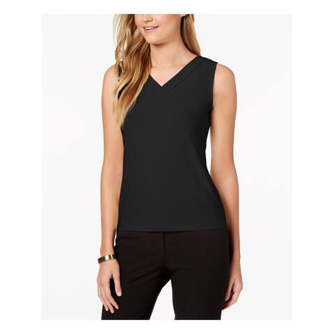 TAHARI Womens Black Sleeveless V Neck Top Size PL