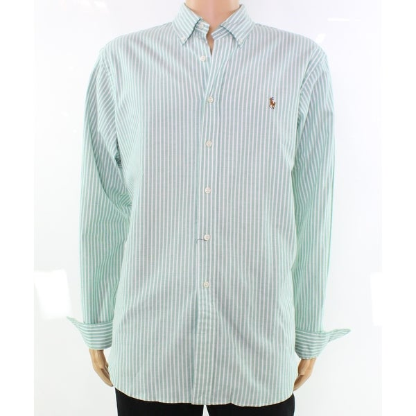 ba11042289 Shop Polo Ralph Lauren NEW Green Striped Oxford Mens XL Button Down Shirt -  Free Shipping Today - Overstock - 20925148