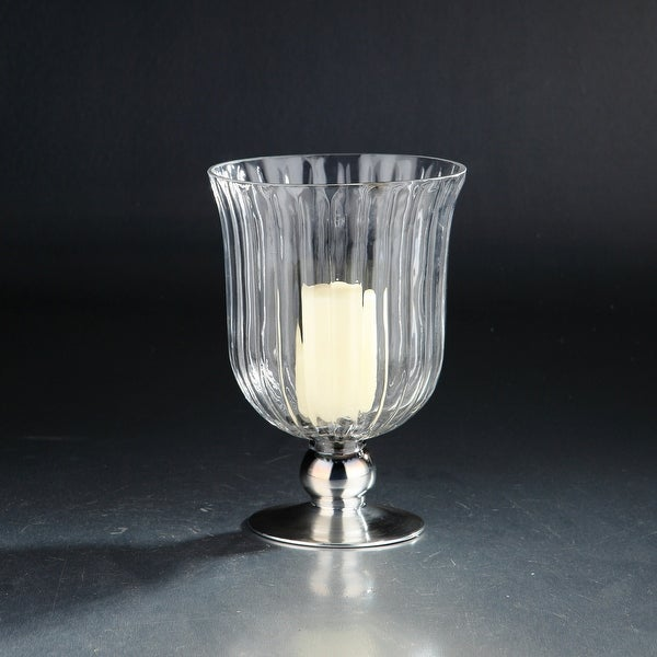 "10"" Clear Vertically Ribbed Hurricane Glass Candle Holder - N/A"