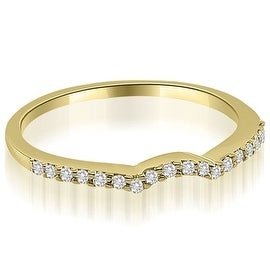 0.15 cttw. 14K Yellow Gold Petite Curved Round Cut Diamond Wedding Ring