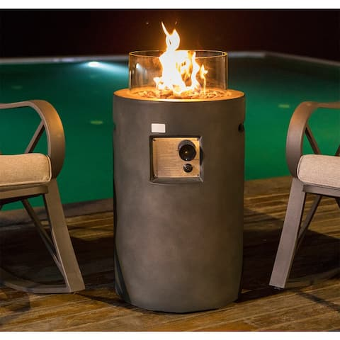"""COSIEST 16"""" Outdoor Propane Fire Pit Table with Glass Wind Guard"""
