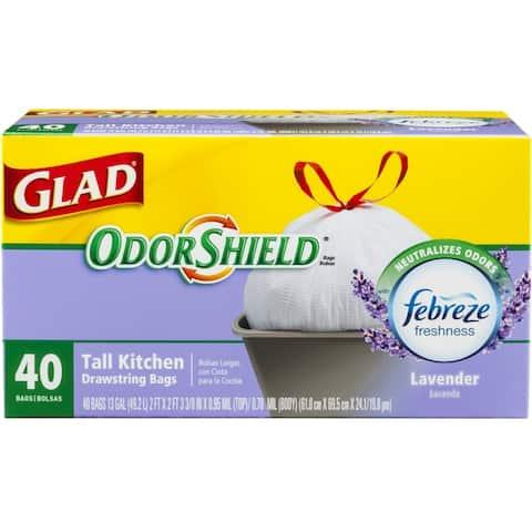 Glad 78459 OdorShield Lavender Scent Tall Kitchen Drawstring Bag, 13-Gal, 40-Ct