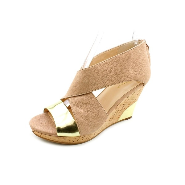 Cole Haan Irving Wedge Women Open Toe Leather Nude Wedge Sandal
