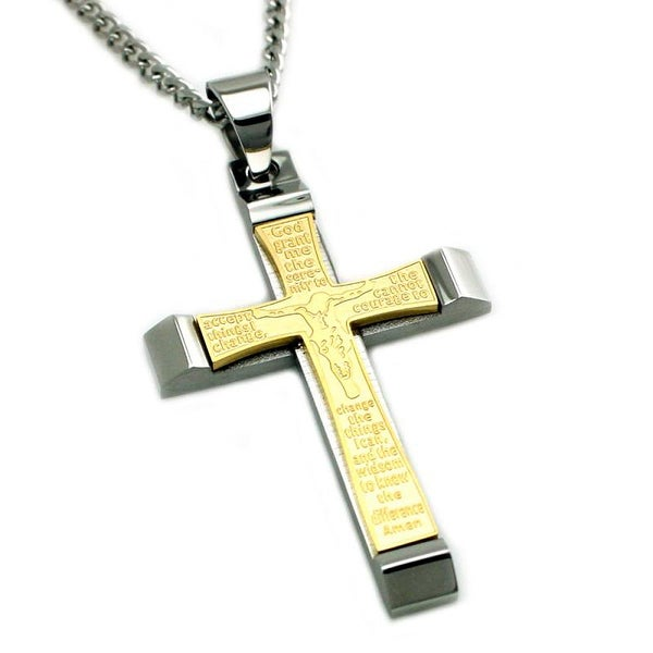 Two Tone Stainless Steel Serenity Prayer w/ Jesus on the Cross Pendant - 24 inches