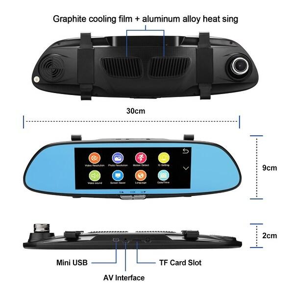 7/'/' Car Dual Lens DVR HD 1080P Vehicle Dash Cam Rearview Mirror Camera Recorder