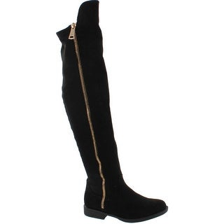 Bamboo Monterey-05 Women's Stretch Back Side Zipper Low Heel Over The Knee Boots - Black Suede