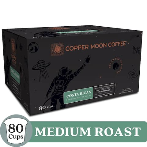 Copper Moon Single Serve Coffee K Cup Pods Costa Rican, 80 Ct - Medium Roast Costa Rican Blend Coffee - 80 Count