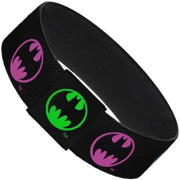 Round Bat Signal Black Multi Neon Elastic Bracelet