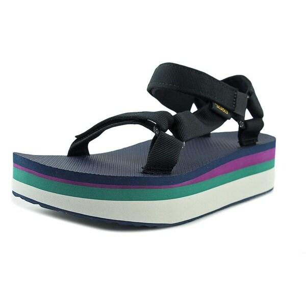 d5ac6796d786 Teva Flatform Universal Retro Women W Open-Toe Canvas Black Sport Sandal