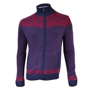 Tommy Hilfiger Men's Nordic Patterned Sweater Jacket (L, Navy/Red) - Navy/Red - L