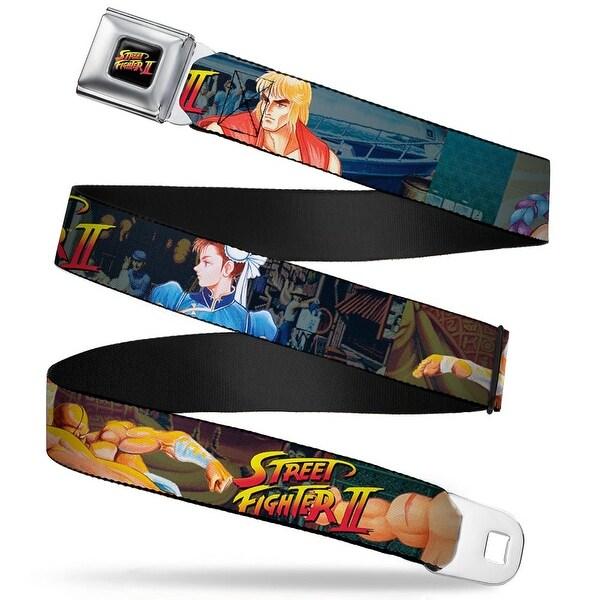 Street Fighter Ii Logo Full Color Black Street Fighter Ii Character Poses Seatbelt Belt