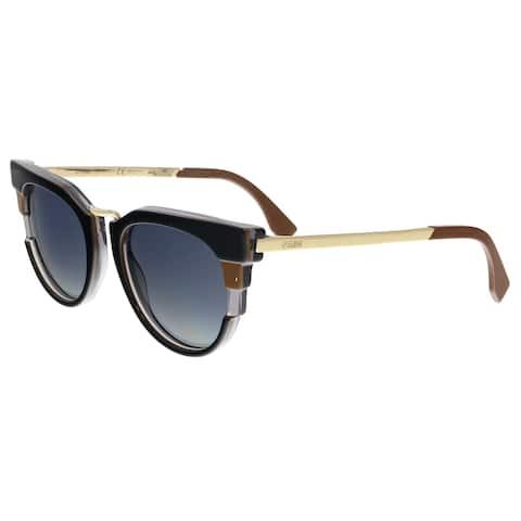 c2b29a8a7041 FENDI 0063 S 0MVB- HD Black Round Sunglasses - 50-20-140