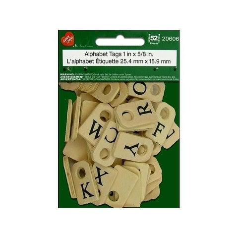 Lara's Wood Painted Pkg Alphabet Tags