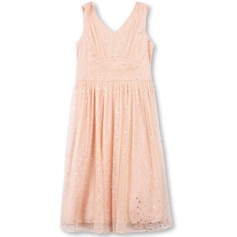 Speechless Girls' Big Foil Star Shirdded Front Dress, Peach, Peach Gold, Size 14