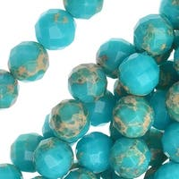 Impression Jasper Gemstone, Faceted Round Beads 8mm, 16 Inch Strand, Aqua Blue