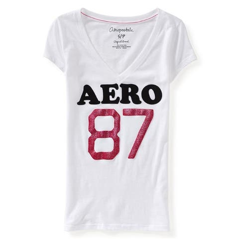 Aeropostale Womens V Neck Glitter Logo Embellished T-Shirt, white, Large