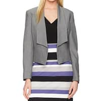 Nine West Gray Womens Size 12 Open-Front Flyaway Crepe Jacket