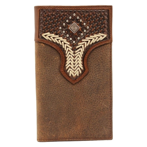 Nocona Western Wallet Mens Rodeo Lacing Diamond Medium Brown - One size